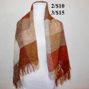Checkered Plaid Brown and Red Scarf Wrap